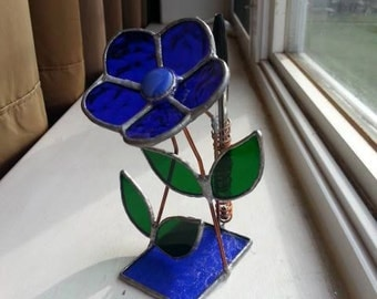 Stained Glass Flower Pen Holder