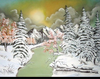 """""""Winter landscape with a river, oil painting, mountain and fir forest covered with snow, sky with a pale sun"""" White Paradise """""""