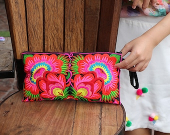 Pink Flower Clutch With Embroidered Fabric