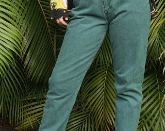 JORDACHE Jeans Moss Green High Waisted with Tapered Leg