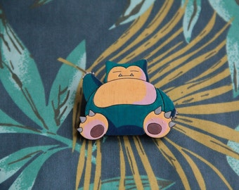 Wooden badge, icon, pin, brooch,  Snorlax Pokemon go