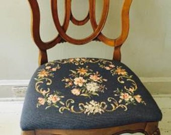 a beautiful occasional chair - antique blue and flower seat