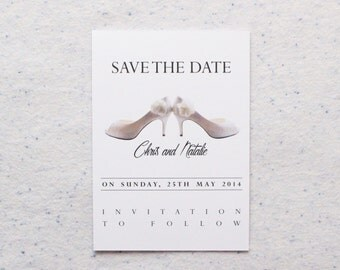 Personalised Wedding Shoe Design Save the Date Invitations