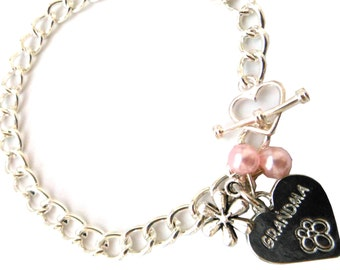 Personalised Handmade Charm Bracelet with Choice of Personalised Charm.