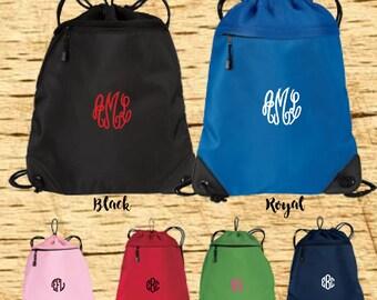 Embroidered Monogram Mesh Cinch Sack, Mesh Cinch Sack, Mesh Totebag, Mesh Bag
