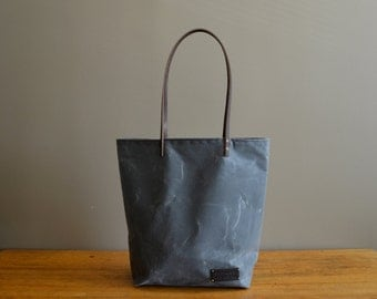 Waxed Canvas Tote Bag with Leather Straps - Charcoal