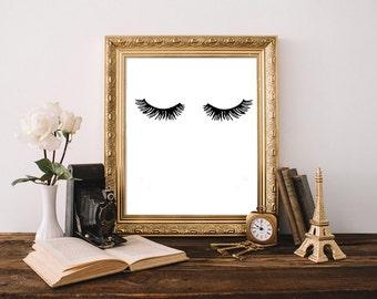 Eyelashes print, makeup art print, bathroom art, fashion print, eyelash art, beauty print, eyelashes poster, beauty room decor, vanity decor