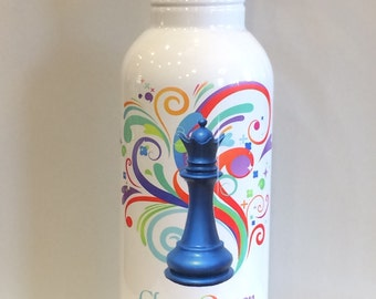Personalized 20 oz Stainless Steel Water Bottle Chess Queen Club Gifts