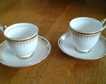 Art Deco 'New Chelsea' vintage cup and saucer sets x 2
