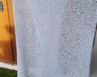 Knitted Silver Ladies Wrap Shawl