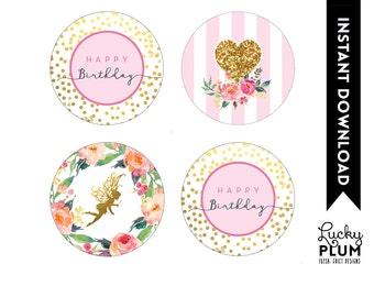 Fairy Cupcake Topper / Garden Cupcake Topper / Flower Cupcake Topper / Pixie Cupcake Topper / Elves Cupcake Topper / DIY Printable FY01