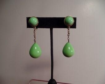 Fun Lime Green Dangle Earrings Signed Trifari-1960's