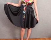 READY TO SHIP Black and Floral Satin Retro Inspired Half Circle Dress