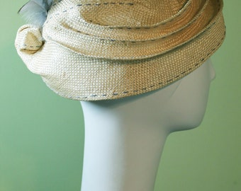 Downton Abbey Style Straw Hat with Feathers - Spring Summer Straw Women's Hat - Women's Derby Ascot Hat - OOAK