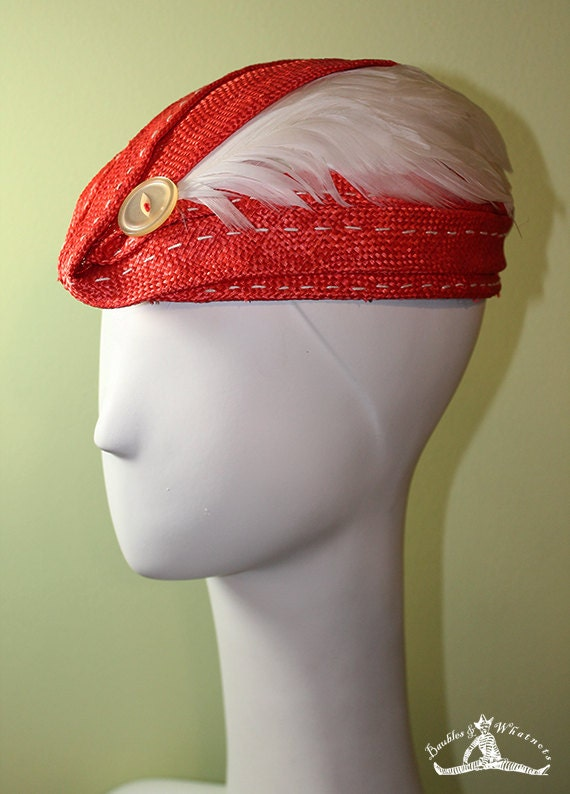 Red Coral Blocked Straw Hat with Oversized Button & Feathers - Spring Summer Red Straw Hat - Red Kentucky Derby Hat - OOAK