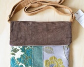 Purple Brown Corduroy Floral Green Upholstery Patchwork. Large Pocket zipper foldover crossbody messenger. Arnita