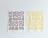 Houses Screen Printed Fabric Fat Quarter Panel in Organic Cotton. Chocolate Brown or Mustard Yellow Ecofriendly Ink.