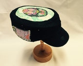 Women's Military Cap - Mint with Purple Floral Top - Cadet Hat in Black or Khaki