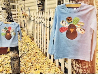Boys Thanksgiving Turkey Applique Shirt