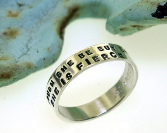 She Is Fierce, hand stamped sterling silver ring band by Kathryn Riechert