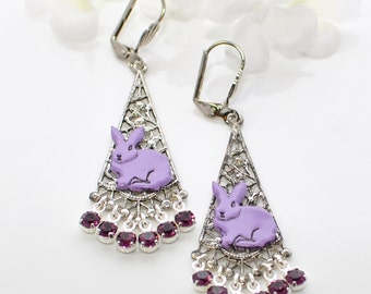 Purple Bunny Dangle Earrings The Purplelicious Pair - Rabbit Jewelry - Bunny Earrings -Bunny Rabbit Inspired -Bunny Jewelry -Rabbit Earrings