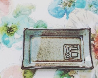 Jewelry holder ceramic trinket dish - handmade blue pottery tray