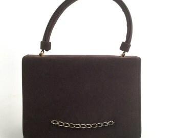 Dark Green Velvet Handbag - Vintage 50s - Antique Gold Chain, Top Handle, Foldover Flap - Deep Olive Green or Dark Brown Bag