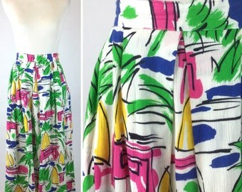 Vintage Abstract Summer Print Skirt Christian Dior - Bright Green, Pink, Blue, Yellow, Black, White with Pockets - Sails, Palm Trees, Water