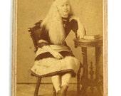 Antique Victorian ALBINO Mary Martin Circus Sideshow CDV Photograph Chas Eisenmann Carnival Circa 1870