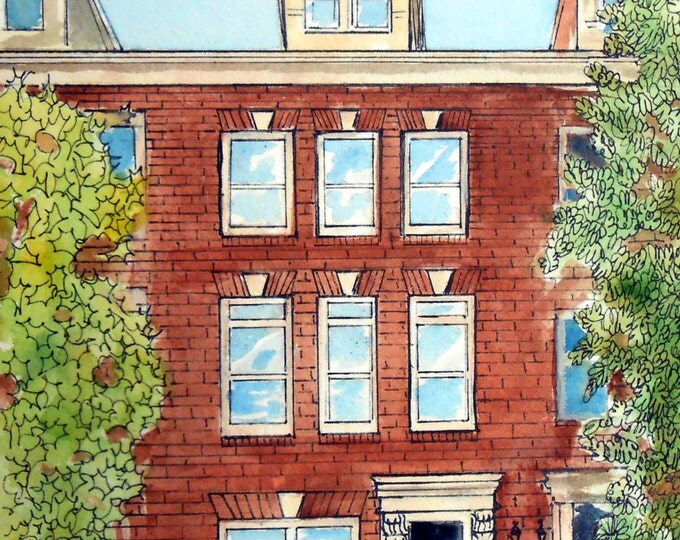 Townhouse Portrait Painting, Row House Watercolor