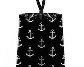 Car Trash Bag // Auto Trash Bag // Car Accessories // Car Litter Bag // Car Garbage Bag -  Anchors - Black White - Navy Sailor Nautical