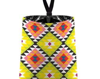Car Trash Bag // Auto Trash Bag // Car Accessories // Car Litter Bag // Car Garbage Bag - Aztec Navajo Tribal Citrus Yellow Green Pink
