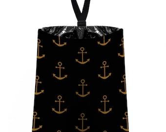 Car Trash Bag // Auto Trash Bag // Car Accessories // Car Litter Bag // Car Garbage Bag -  Anchors - Gold Black Bronze Navy Sailor Nautical