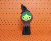Halloween Green Witch Girl Figurine - Collectible Miniature Resin Figure