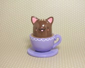 Brown Tabby Teacup Kitty Figurine - Collectible Miniature Clay Figure