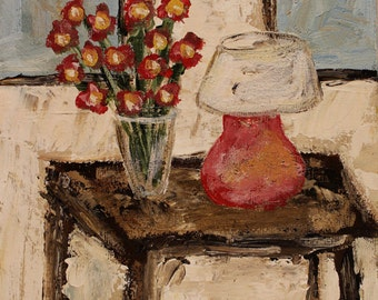 Red Lamp with Red Flowers, Original Painting, Interior Landscape, Winjimir, 8x10, Home Decor