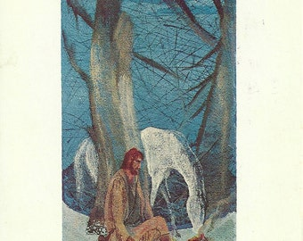 Vintage 1990s Postcard Carl Roters Winter Night American Contemporary Artist Painting Art Card Print Photochrome Era Postmarked