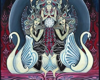 Cygnus Goddess of Swans 5x7 Blank Greeting Card Emily Balivet Goddess Art