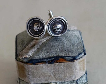 Skull Cufflinks - From an antique Memento Mori Wax Seal each cuff link featuring a skull in latin 'As you are, so once was I - 247CUFFL