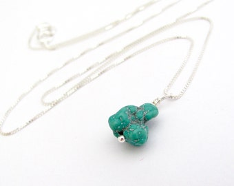 Turquoise Gemstone Necklace, Turquoise Nugget Pendant Necklace, Sterling Silver Box Chain, Turquoise Nugget Jewelry, Southwestern Style