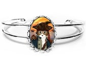 Pirate Cat Bracelet Captain Leo Rat Ship Sunset Fantasy Cat Art Silver Cat Cameo Bracelet 25x18mm Gift for Cat Lovers Jewelry