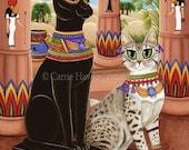 Bast Cat Art Bastet Egyptian Goddess Temple Fantasy Cat Art Print 12x16 Art For Cat Lovers Gift