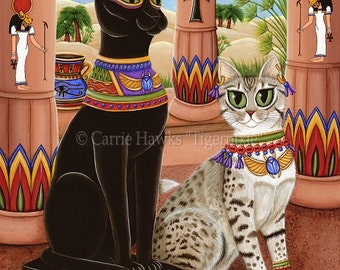 Bast Cat Art Bastet Egyptian Goddess Temple Fantasy Cat Art Print 12x16 Art For Cat Lovers Gift