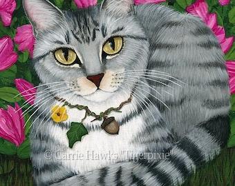 Tabby Cat Art Garden Azalea Flowers Fantasy Cat Art ACEO / ATC Mini Print Cat Lover Gift