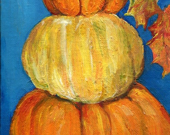 Halloween Stack o' Pumpkins acrylic painting canvas panel,  original home decor art, Fall leaves, Autumn home decor 5 x 7, colorful pumpkins