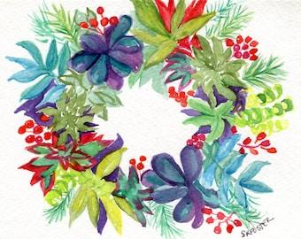 Original Succulents Wreath watercolor painting  5 x 7 succulent watercolor, succulent wall art painting SharonFosterArt Farmhouse Decor