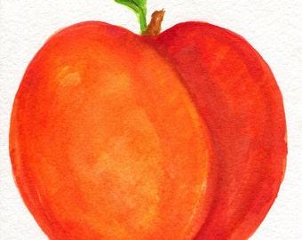 Peach Watercolor Painting original, Fruit art, peaches painting, original watercolor of peaches, small kitchen decor, peach wall art