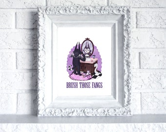 Brush Those Fangs - Print featuring batcat 8 x 10, 5 x 7