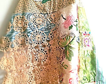 Patchworked Over Dress/Apron, Rustic, Pretty, Lacy, Floral Dress, Boho, Layering, Colourful