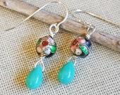 Black Cloisonne Beads and Turquoise Glass Dangle and Drop Earrings, Dangle Earrings, Women, Girls, Turquoise Earrings, Stocking Stuffer